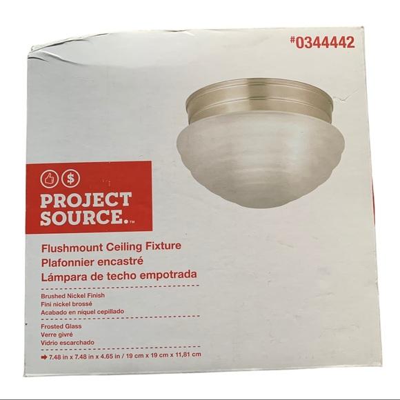 Project Source Brushed Nickel Flush Mount Light